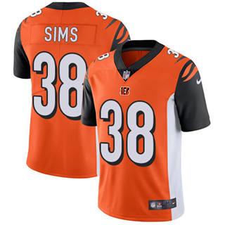 Youth Bengals #38 LeShaun Sims Orange Alternate Stitched Football Vapor Untouchable Limited Jersey