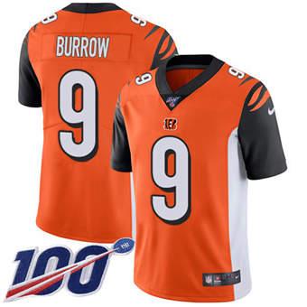 Youth Bengals #9 Joe Burrow Orange Alternate Stitched Football 100th Season Vapor Untouchable Limited Jersey