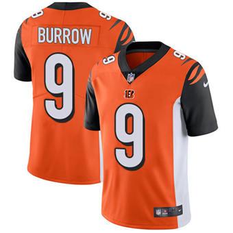 Youth Bengals #9 Joe Burrow Orange Alternate Stitched Football Vapor Untouchable Limited Jersey