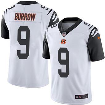 Youth Bengals #9 Joe Burrow White Stitched Football Limited Rush Jersey