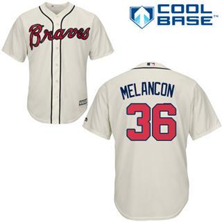 Youth Braves #36 Mark Melancon Cream New Stitched Baseball Jersey