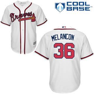 Youth Braves #36 Mark Melancon White New Stitched Baseball Jersey