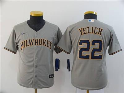 Youth Brewers #22 Christian Yelich Gray 2020 Stitched Baseball Cool Base Jersey