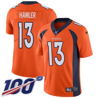 Youth Broncos #13 KJ Hamler Orange Team Color Stitched Football 100th Season Vapor Untouchable Limited Jersey