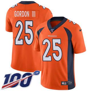 Youth Broncos #25 Melvin Gordon III Orange Team Color Stitched Football 100th Season Vapor Untouchable Limited Jersey