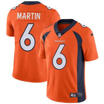 Youth Broncos #6 Sam Martin Orange Team Color Stitched Football Vapor Untouchable Limited Jersey