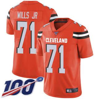 Youth Browns #71 Jedrick Wills JR Orange Alternate Stitched Football 100th Season Vapor Untouchable Limited Jersey