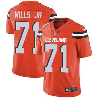 Youth Browns #71 Jedrick Wills JR Orange Alternate Stitched Football Vapor Untouchable Limited Jersey