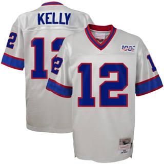 Youth Buffalo Bills #12 Jim Kelly Mitchell & Ness Platinum Football 100th Season Retired Player Legacy Jersey