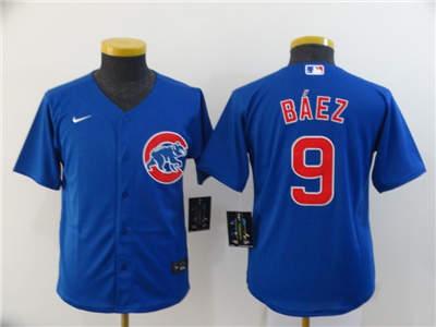 Youth Cubs #9 Javier Baez Royal 2020 Stitched Baseball Cool Base Jersey