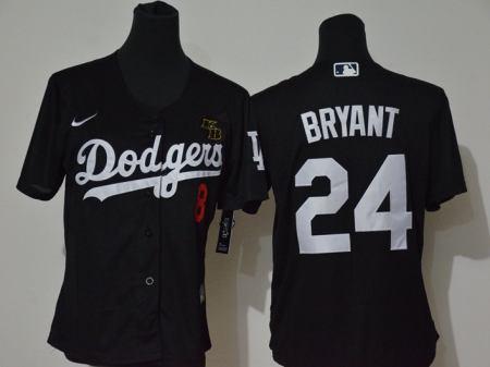 Youth Dodgers #8-24 Kobe Bryant Black 2020 KB Patch Baseball Cool Base Jersey