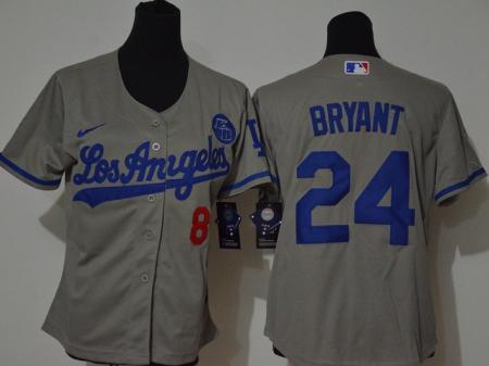 Youth Dodgers #8-24 Kobe Bryant Gray 2020 KB Patch Baseball Cool Base Jersey