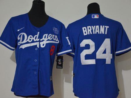 Youth Dodgers #8-24 Kobe Bryant Royal 2020 KB Patch Baseball Cool Base Jersey