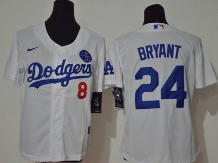 Youth Dodgers #8-24 Kobe Bryant White 2020 KB Patch Baseball Cool Base Jersey