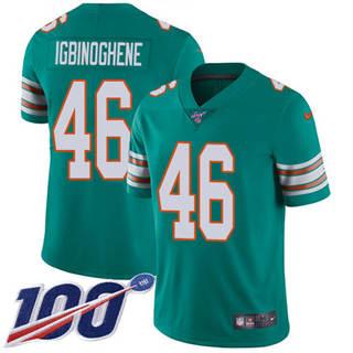Youth Dolphins #46 Noah Igbinoghene Aqua Green Alternate Stitched Football 100th Season Vapor Untouchable Limited Jersey