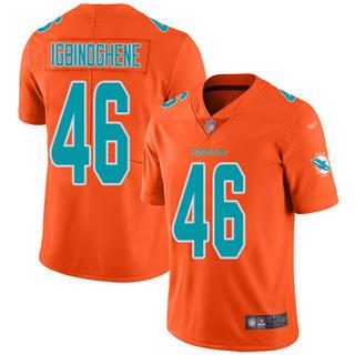 Youth Dolphins #46 Noah Igbinoghene Orange Stitched Football Limited Inverted Legend Jersey