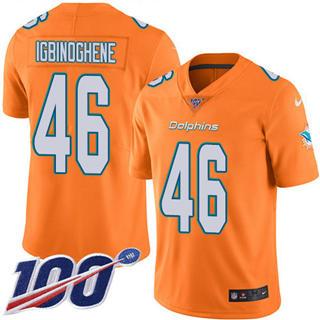 Youth Dolphins #46 Noah Igbinoghene Orange Stitched Football Limited Rush 100th Season Jersey