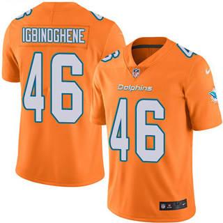 Youth Dolphins #46 Noah Igbinoghene Orange Stitched Football Limited Rush Jersey