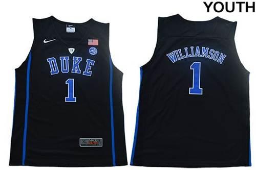 Youth Duke Blue Devils #1 Zion Williamson Black Elite Stitched College Basketball Jersey