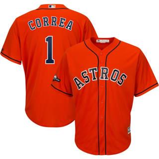 Youth Houston Astros #1 Carlos Correa 2019 Postseason Official Player Jersey Orange