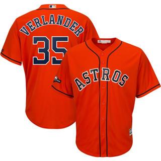 Youth Houston Astros #35 Justin Verlander 2019 Postseason Official Player Jersey Orange