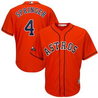 Youth Houston Astros #4 George Springer 2019 Postseason Official Player Jersey Orange