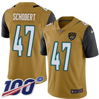 Youth Jaguars #47 Joe Schobert Gold Stitched Football Limited Rush 100th Season Jersey