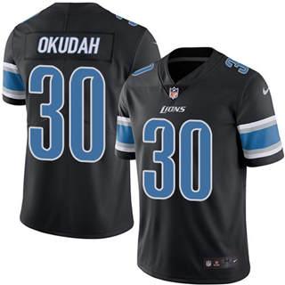 Youth Lions #30 Jeff Okudah Black Stitched Football Limited Rush Jersey