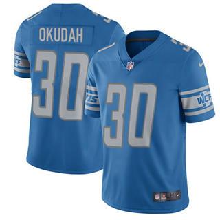 Youth Lions #30 Jeff Okudah Blue Team Color Stitched Football Vapor Untouchable Limited Jersey
