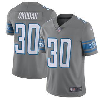 Youth Lions #30 Jeff Okudah Gray Stitched Football Limited Rush Jersey
