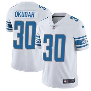 Youth Lions #30 Jeff Okudah White Stitched Football Vapor Untouchable Limited Jersey
