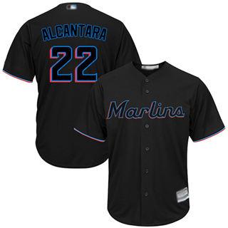Youth Marlins #22 Sandy Alcantara Black Cool Base Stitched Baseball Jersey