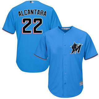 Youth Marlins #22 Sandy Alcantara Blue Cool Base Stitched Baseball Jersey