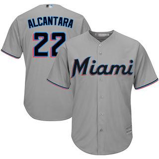 Youth Marlins #22 Sandy Alcantara Grey Cool Base Stitched Baseball Jersey