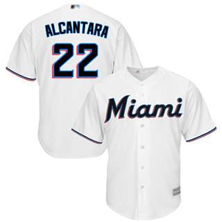Youth Marlins #22 Sandy Alcantara White Cool Base Stitched Baseball Jersey