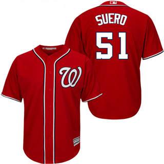 Youth Nationals #51 Wander Suero Red New Stitched Baseball Jersey