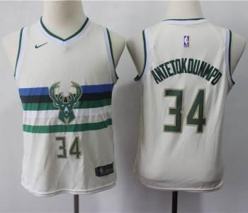 Youth  Bucks #34 Giannis Antetokounmpo Cream Basketball Swingman City Edition Jersey