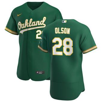 Youth Oakland Athletics #28 Matt Olson Kelly Green Alternate 2020 Authentic Player Baseball Jersey