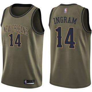 Youth Pelicans #14 Brandon Ingram Green Salute to Service Basketball Swingman Jersey