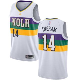 Youth Pelicans #14 Brandon Ingram White Basketball Swingman City Edition 2018-19 Jersey
