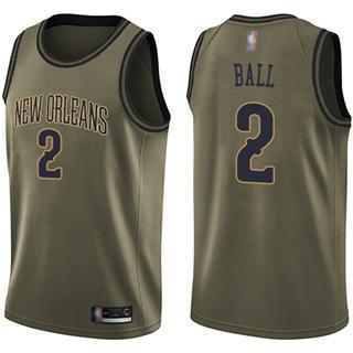 Youth Pelicans #2 Lonzo Ball Green Salute to Service Basketball Swingman Jersey