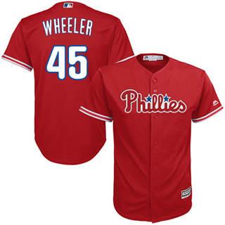 Youth Phillies #45 Zack Wheeler Red New Stitched Baseball Jersey