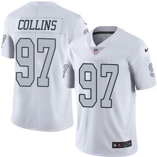 Youth Raiders #97 Maliek Collins White Stitched Football Limited Rush Jersey