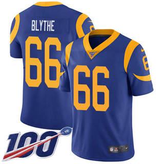 Youth Rams #66 Austin Blythe Royal Blue Alternate Stitched Football 100th Season Vapor Untouchable Limited Jersey