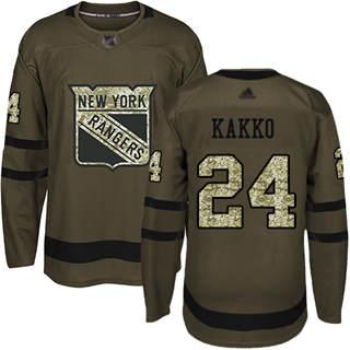 Youth Rangers #24 Kaapo Kakko Green Salute to Service Stitched Hockey Jersey