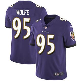 Youth Ravens #95 Derek Wolfe Purple Team Color Stitched Football Vapor Untouchable Limited Jersey