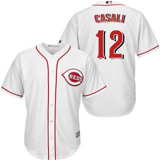 Youth Reds #12 Curt Casali White New Stitched Baseball Jersey