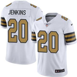 Youth Saints #20 Janoris Jenkins White Stitched Football Limited Rush Jersey