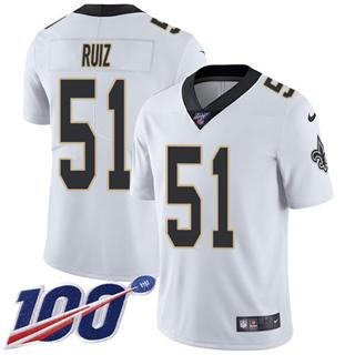 Youth Saints #51 Cesar Ruiz White Stitched Football 100th Season Vapor Untouchable Limited Jersey