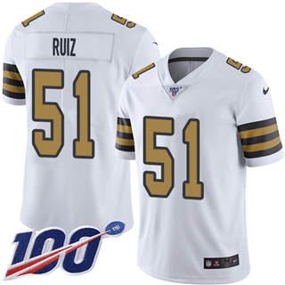 Youth Saints #51 Cesar Ruiz White Stitched Football Limited Rush 100th Season Jersey